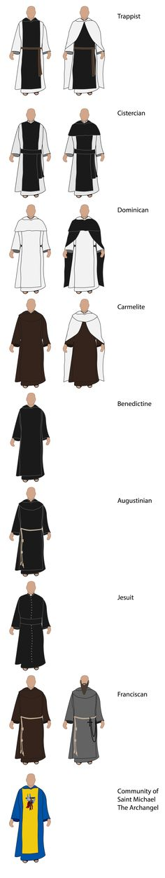 How to identify Catholic monks by their habit. I hope there's a nun version floating around on Pinterest somewhere because it would be awesome to post too!                                                                                                                                                      More