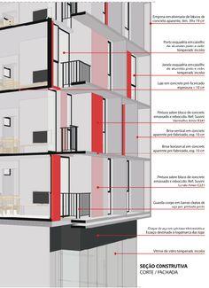 3º Lugar no concurso CODHAB-DF para edifícios de uso misto em Santa Maria,Seção Corte Fachada. Image Cortesia de AGA – Alexandre Gonçalves Arquitetura