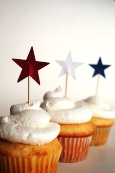 Star Cupcake Picks red white and blue by thePathLessTraveled