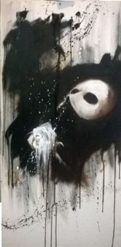 ARTFINDER: Point of No Return by Jack Bagley - Small, long decorative painting inspired by one of the greatest musicals The Phantom of the Opera. Monochrome black and white tones prevail with a hint of wa...