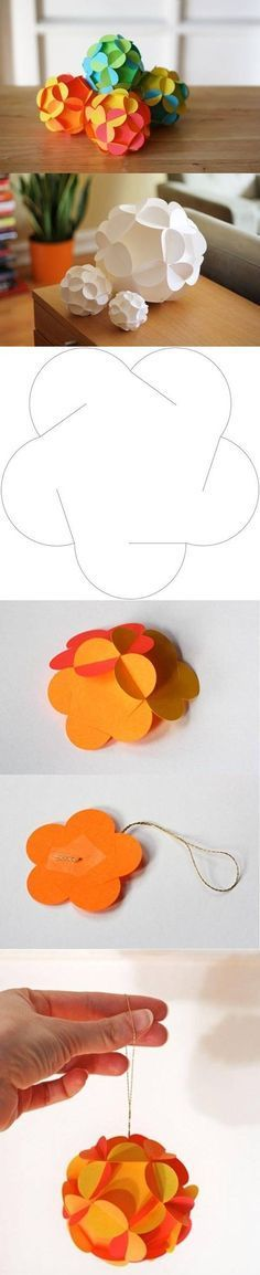 DIY Paper Christmas Balls --- this could be enlarged and used to make a pendant light, if you use acrylic instead of paper.