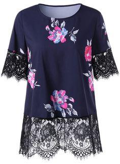 $15.25 Digital Floral Lace Scalloped Trim T-Shirt - Purplish Blue