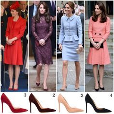 Multiple pairs of the same shoe but in different colours owned by The Duches Kate Middleton Shoes, Looks Kate Middleton, Kate Middleton Prince William, The Duchess, Duchess Of Cambridge, Duchesse Kate, Estilo Real, Royal Clothing, Royal Princess