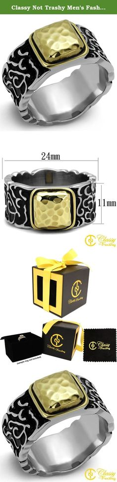 Classy Not Trashy Men's Fashion Jewelry Ring Premium Grade Stainless Steel with Two-Tone Ion Plated Gold Finish and Black Colored Epoxy Stone Size 9. This gorgeous Classy Not Trashy® Men's Fashion Jewelry Ring Premium Grade High Quality Stainless Steel with Two-Tone Ion Plated Gold Finish and Black Colored Epoxy Stone Size 9 has the finest details and highest quality you will find anywhere! Our team prides ourselves on finding the best prices without reducing quality, and in this Ring Size…