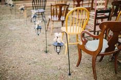 Hadley and Kodi's Vintage Rustic Georgia Wedding at Fritz Farm. They chose to use our antique eclectic chairs for their ceremony! photo by TR Photography
