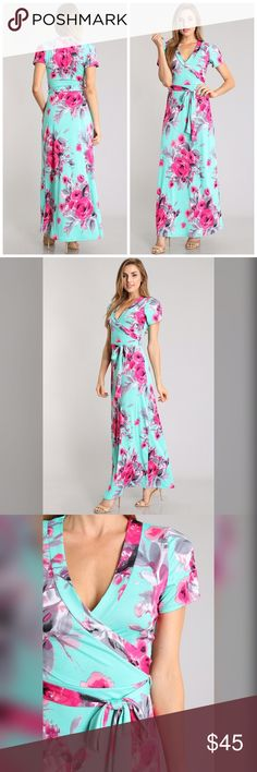 PREORDER Amazing floral maxi dress! Stunning color combo in soft jersey knit Dresses Maxi