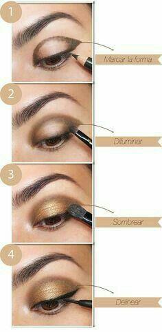 El #maquillaje con tonos dorados hará relucir tus ojos y es perfecto para cualquier ocasión. Aprende a sacarle el máximo provecho, aquí te decimos como.  #MaquillajeTonosDorados #Makeup #MaquillajeNatural #Sombras
