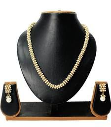 Buy Traditional Design White pearl bunch Mala set with golden ball for Partywear women jewellery necklace-set online