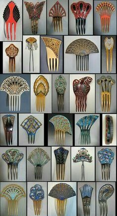 Victorian to Art Deco colored celluloid combs with stones, with one Japanese metal hair pin and one Chinese metal trembler hair pin with semi-precious stones and kingfisher feathers. LOVE VINTAGE HAIR COMBS, they were so beautiful Bijoux Art Nouveau, Art Nouveau Jewelry, Art Deco Schmuck, Art Deco Colors, Vintage Hair Combs, Look Retro, Inspiration Art, Hair Ornaments, Art Deco Design
