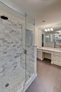 Renovation #3 - master bathroom, carrera marble, frameless glass shower, subway tile, white cabinets