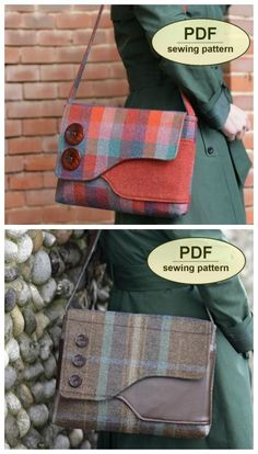 A smart and stylish messenger bag style purse sewing pattern. Can be sewn with a. - A smart and stylish messenger bag style purse sewing pattern. Can be sewn with a wide variety of fa - Messenger Bag Patterns, Small Messenger Bag, Bag Patterns To Sew, Sewing Patterns Free, Free Sewing, Sewing Tips, Sewing Hacks, Sewing Tutorials, Bags Sewing