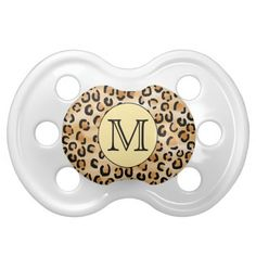 Personalized Monogram Leopard Print Pattern. Baby Pacifiers