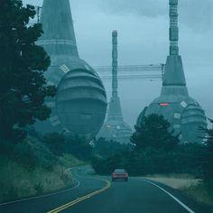 Filme Environment Design, Environment Concept Art, Futuristic City, Futuristic Architecture, Landscape Concept, Fantasy Landscape, Galaxy Planets, Future City, Arte Popular