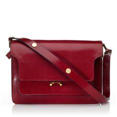 Marni: Hot Red Envelope Shoulder Bag ($1,400) ❤ liked on Polyvore