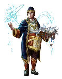 Male Pudgy Human Wizard - Pathfinder PFRPG DND D&D d20 fantasy