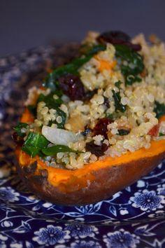 Quinoa Stuffed Sweet Potatoes!   Gluten Free, Vegan, Vegetarian, healthy, and seasonal!   from 'a rented kitchen' food blog