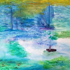 "Ryan Donato,Médiocre Impressionisme, 2013.Charcoal, acrylic and acrylic latex enamel on canvas, 24"" x 24"". Post and pre-drip."