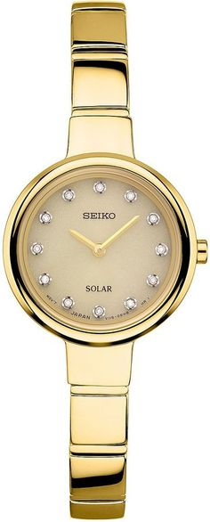 80b5e0d33b8 Seiko Womens Gold Tone Bangle Watch-Sup366 Diamond Bracelets, Bangle  Bracelets, Bangles,