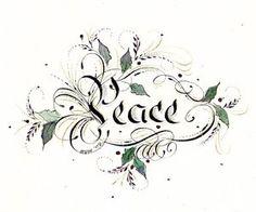 PEACE Beautiful Christmas, White Christmas, Natural Christmas, Christmas Art, Calligraphy Alphabet, Calligraphy Drawing, We Are The World, Penmanship, Holy Night