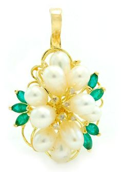 Pearl Emerald & Diamond Cluster Enhancer Pendant in 14k Yellow Gold