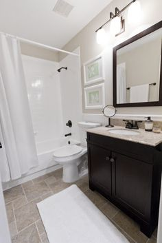 Jenna Sue: Florida House Guest Bathroom - really like this! Could do this in our bathroom.