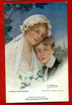 SISTERS-FIRST-LOVE-827-BY-PHILIP-BOILEAU-VINTAGE-POSTCARD-964