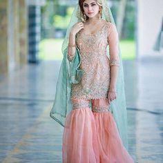 Bridal Pink gharara for nikkha Wedding Hijab Styles, Pakistani Wedding Outfits, Pakistani Bridal, Pakistani Dresses, Bridal Outfits, Dulhan Dress, Walima Dress, Bridal Mehndi Dresses, Engagement Dresses