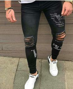 Black Ripped Jeans, Striped Jeans, Boys Pants, Jeans Pants, Boy Outfits, Casual Outfits, Painted Jeans, Stylish Girl Images, Outfit Grid