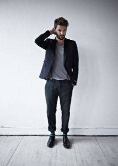 Scotch & Soda: blazer, tee, pants, fun socks