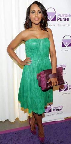 d8750b8c3c Kerry Washington Wearing Alexander McQueen Green Strapless Dress and  Casadei Pumps For 2014 Allstate Foundation Purple Purse Programe