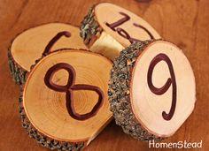 RESERVED 22 Rustic Wedding Log Table Numbers Ash by HomenStead, $132.00