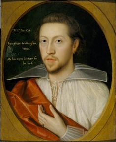 "Sir John Cutts, c.1595 -- at Upton House (NT -- whence image). The inset emblem is a rock in the sea dashed by waves, accompanied by the verse: ""In sea of thoughts that ebbe & flow,/ Vnmou'd/ My loue is, let mee soe/ Bee lou'd"""