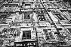 The narrow roads and ally's in Valletta. #Valletta #Malta #mediterranean #Knights #windows #woodenwindows #wooden #ally #culture #Knightsoftheorder #weathered #blackandwhite