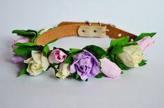 Wedding dog collarFlower dog collarPink rosewhite by MarsDogShop