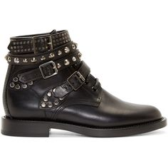 Saint Laurent Black Studded Strap Combat Boots ($1,180) ❤ liked on Polyvore featuring shoes, boots and ankle booties