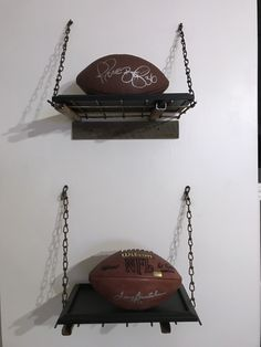 Cool shelves with metal grates and chain. Adorned with Terry Bradshaw and Jerome Bettis autographed footballs. Go Pittsburgh Steelers