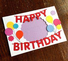写真が見える窓あきハッピーバースデーカード 誕生日カード(赤文字) Minne, Happy Birthday, Kids Rugs, Scrapbook, Paper, Frame, Cards, Design, Decor