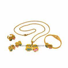juego de joyas de dibujos animados amarillo con collar ,aretes,pulsera y anillo color dorado en acero inoxidable-SSNEG051271
