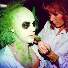 'We're gonna have some laughs.' Academy Award winner for best achievements in #makeup Ve Neill aka @therealve transforms actor #michaelkeaton into the #ghost with the most for #timburton movie #beetlejuice from 1988.
