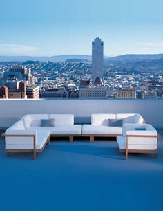 Henry Hall Designs modern outdoor furniture for garden&patio, including sustainable teak and woven classic designs. Pure Sofa at the Huntington Hotel in San Francisco, CA. Rustic Outdoor Furniture, Teak Furniture, Garden Furniture, Outdoor Decor, Outdoor Ideas, Luxury Furniture, Vintage Furniture, Futuristic Furniture, Inexpensive Furniture