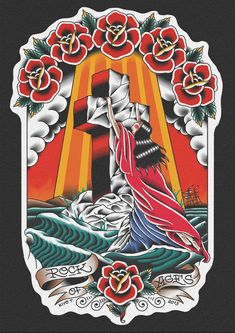 "kiyotawara: "" Rock of Ages // Kiyo Tawara "" nice! Traditional Tattoo Jesus, Traditional Tattoo Painting, Traditional Tattoo Design, Traditional Tattoo Flash, P Tattoo, Cover Tattoo, Jesus Tattoo, Chest Tattoo, Tattoo Flash Sheet"