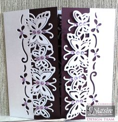 Die'sire Fancy Edge'ables - Butterfly Dreams. Gatefold card - front. Centura Pearl Card. Burgundy Card. Classiques Only Words: Cherish. Gems. #crafterscompanion