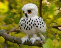 Felted owl needle felt bird felting felt animals wool by byMagic