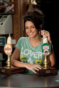 Michelle Keegan is pictured here as Tina McIntyre, the new Rovers Return barmaid (the soap's barmaid). However, as soon as she starts working in the Coronation Street pub, the tram crash happens, trapping Graeme Proctor in the flat above the Kabin. Mark Wright Michelle Keegan, Coronation Street Cast, British Drama Series, Hollyoaks, Tv Soap, British Actresses, Old Tv, Beautiful Actresses, Celebrity News