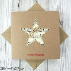 Simple Christmas Cards, Christmas Card Crafts, Homemade Christmas Cards, Homemade Cards, Christmas Music, Merry Christmas Greetings, Christmas Greeting Cards, Square Card, Diy Cards