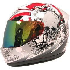 1storm Motorcycle Street Bike Full Face Adult Helmet Booster Skull Red
