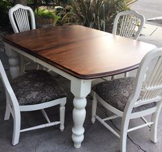 Lovely vintage dining set refinished in GF Linen Milk Paint and Java Gel Stain.