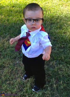 Clark Kent Costume - Halloween Costume Contest via @costumeworks. Dress shirt, slacks, superman bib, cape and sunglasses with the shades popped out