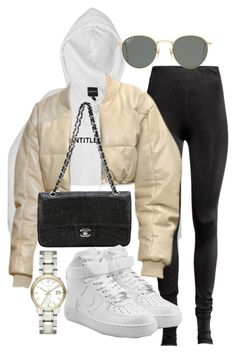 """Untitled #21572"" by florencia95 ❤ liked on Polyvore featuring Ray-Ban, Chanel, NIKE and Burberry"