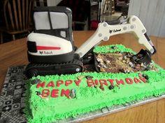 - Bobcat Excavator Birthday Cake! Digger Cake, Digger Party, 4th Birthday Parties, 9th Birthday, Cake Birthday, Birthday Ideas, Happy Birthday, Dump Truck Cakes, Cakes For Boys